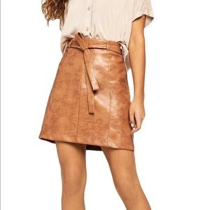 BCBGENERATION FAUX LEATHER MINI SKIRT